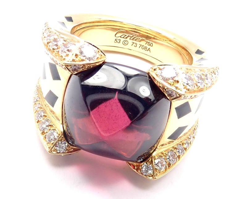 Cartier Panthere Diamond Rhodolite Garnet Black Lacquer Spots Yellow Gold Ring For Sale 2