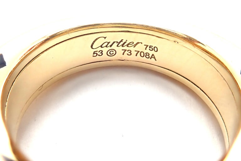 Cartier Panthere Diamond Rhodolite Garnet Black Lacquer Spots Yellow Gold Ring For Sale 3
