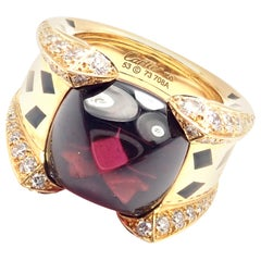 Cartier Panthere Diamond Rhodolite Garnet Black Lacquer Spots Yellow Gold Ring