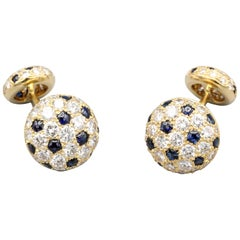 Cartier Panthere Diamond Sapphire and 18 Karat Gold Cufflinks