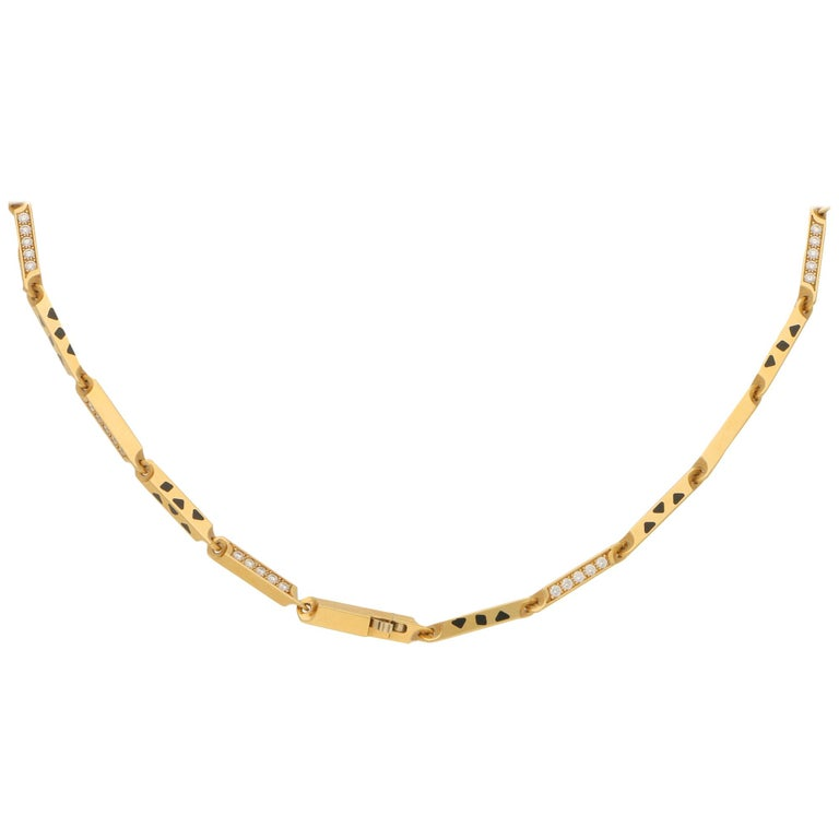Cartier Panthere Diamond And Enamel Chain Necklace Set In 18k Yellow Gold For Sale At 1stdibs