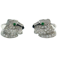 Cartier Panthere Diamond White Gold Stud Earrings