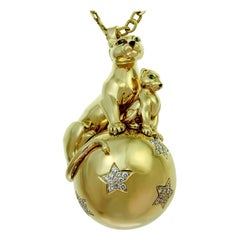 Cartier Panthere Diamond Yellow Gold Panthers Balloon Pendant Necklace
