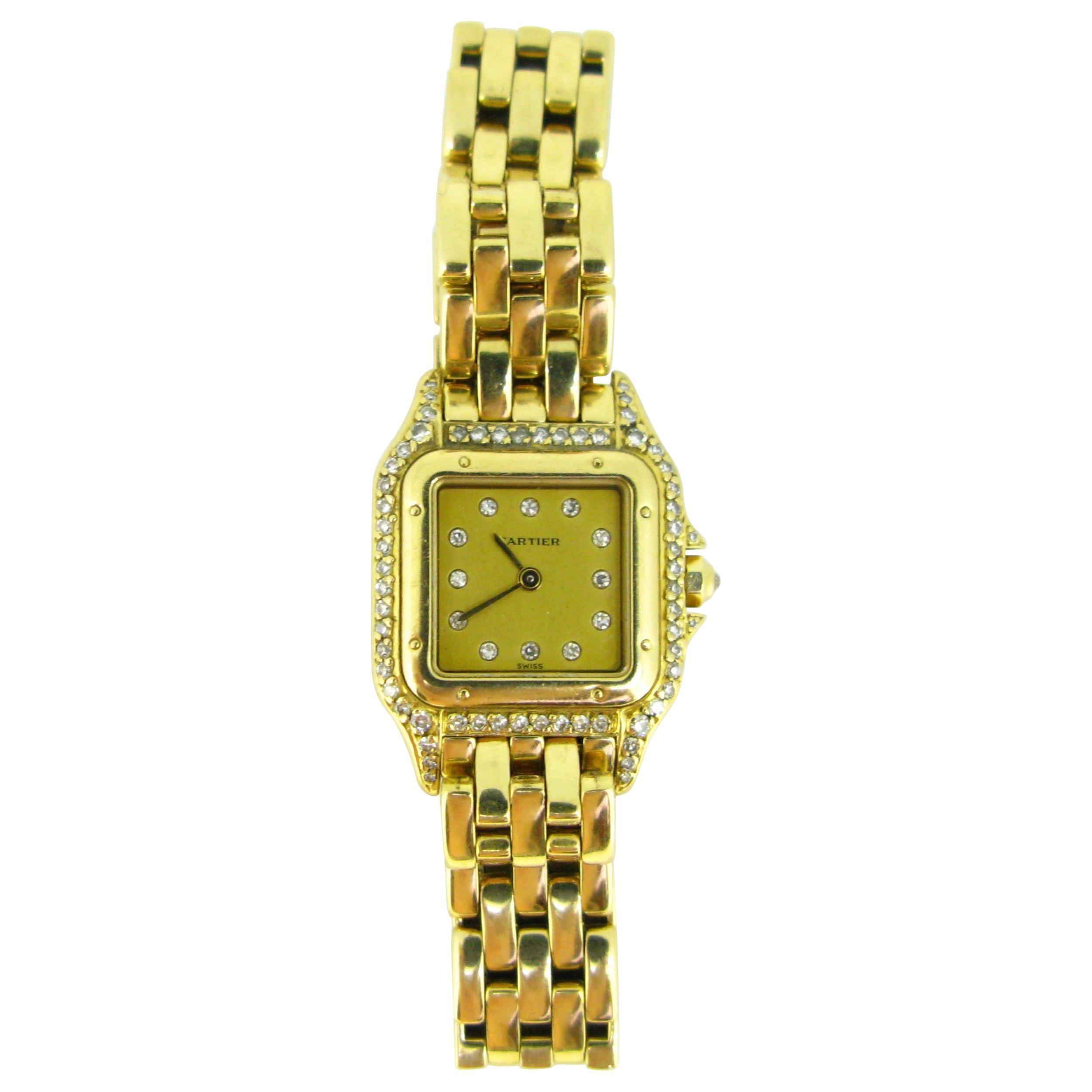Cartier Panthere Diamonds Small Model Yellow Gold Watch