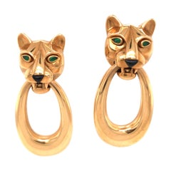 Cartier Panthere Door Knocker Earrings 18 Karat Yellow Gold