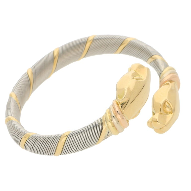 Retro Cartier Panthère Double Headed Bangle in Stainless Steel and 18k Yellow Gold For Sale