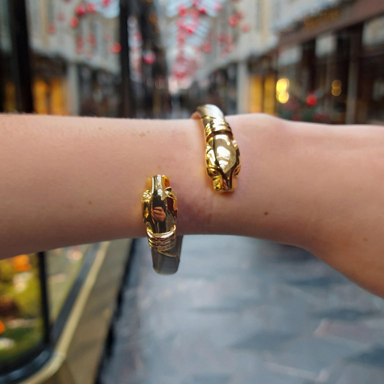 Cartier Panthère Double Headed Bangle in Stainless Steel and 18k Yellow Gold For Sale 1