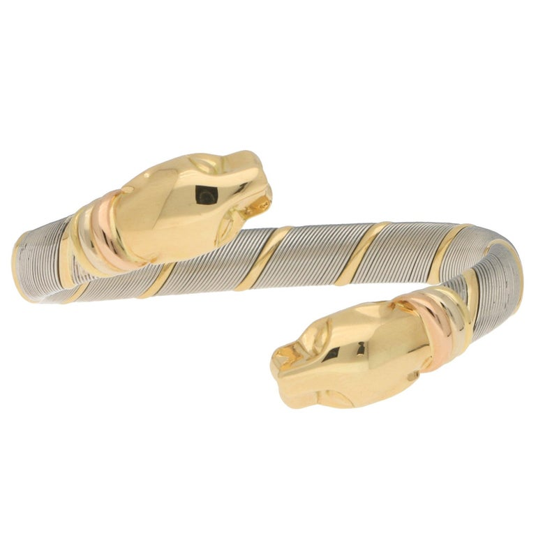 Cartier Panthère Double Headed Bangle in Stainless Steel and 18k Yellow Gold For Sale