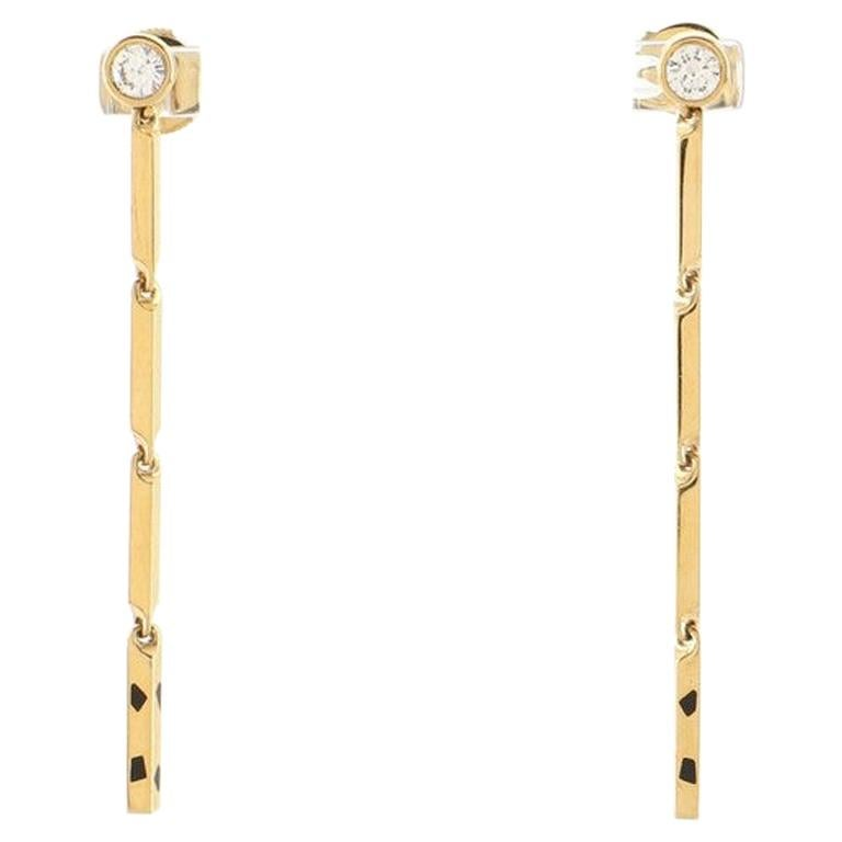 Cartier Panthere Drop Earrings 18K Yellow Gold with Diamonds