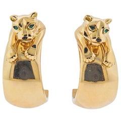 Cartier Panthere Emerald Gold Hoop Earrings
