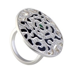 Cartier Panthere Enameled 18 Karat Gold Diamond and Emerald Round Cocktail Ring