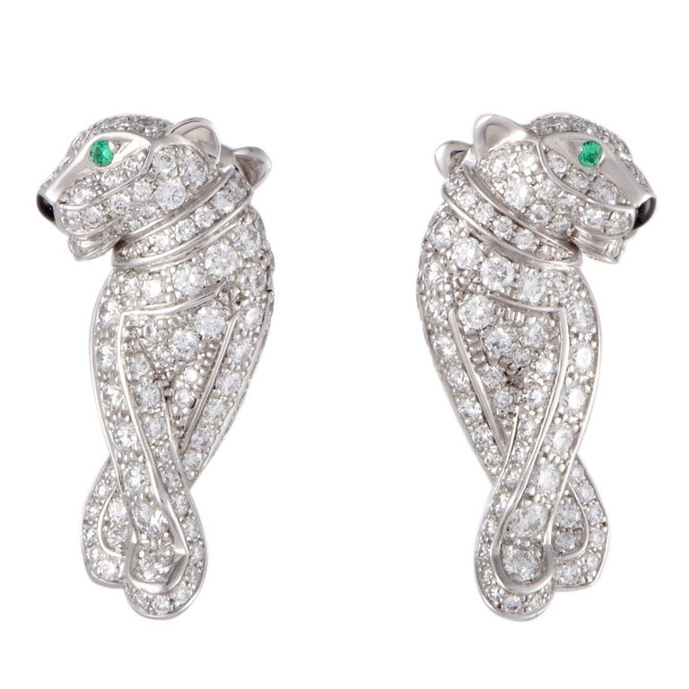 Cartier Panthere Full Diamond Pave Emerald Earrings