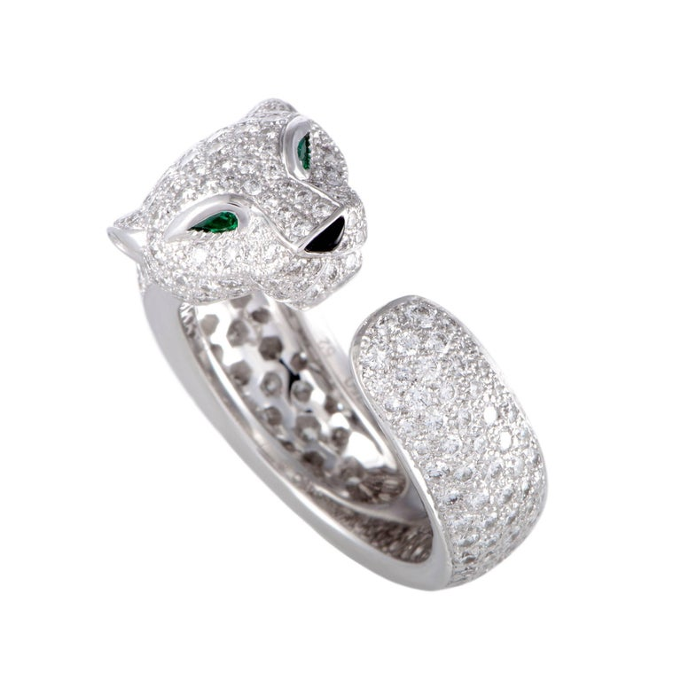 Cartier Panthere Full Diamond Pave Emerald Onyx White Gold Band Ring