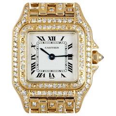 Cartier Panthere Fully Loaded Ladies 18 Karat Gold Silver Dial Diamond Set