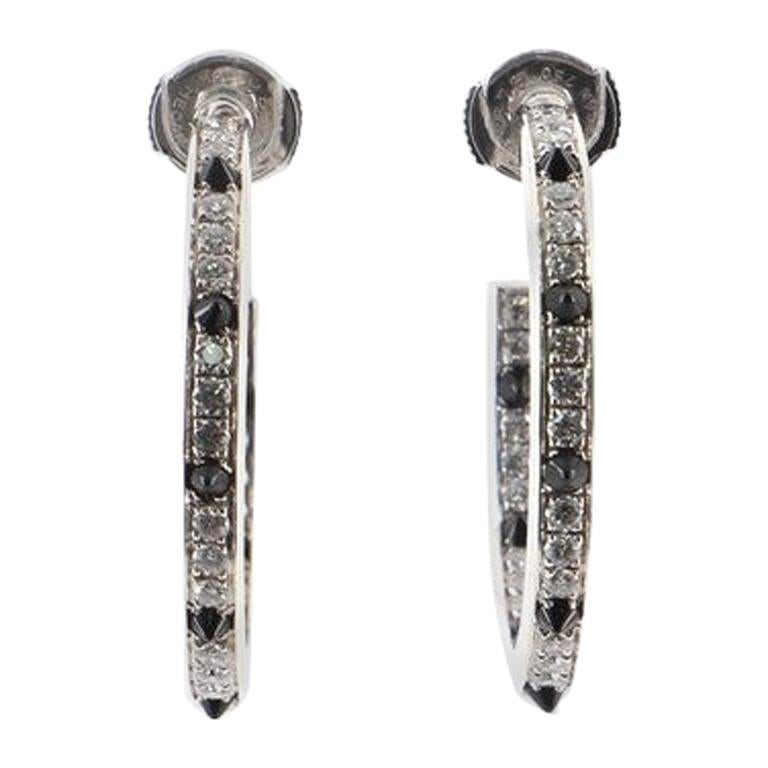 Cartier Panthere Hoop Earrings 18K White Gold with Diamonds and Onyx