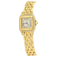 Cartier Panthere in Yellow Gold with Diamonds and Bracelet with Box and Papers