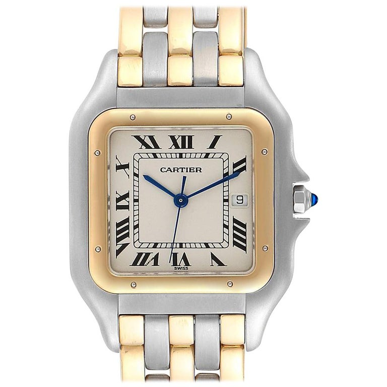 Cartier Panthere Jumbo Steel 18 Karat Yellow Gold Three-Row Quartz Watch