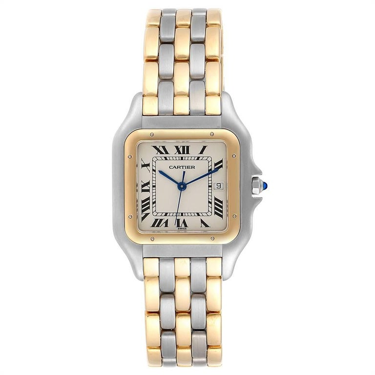 Cartier Panthere Jumbo Steel 18K Yellow Gold Three Row Quartz Watch. Quartz movement. Stainless steel and 18k yellow gold case 29.0 x 29.0 mm. Octagonal crown set with the blue spinel cabochon. Scratch resistant sapphire crystal. Silvered grained