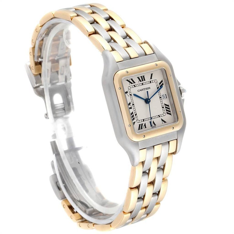 Cartier Panthere Jumbo Steel 18 Karat Yellow Gold Three-Row Quartz Watch In Excellent Condition In Atlanta, GA