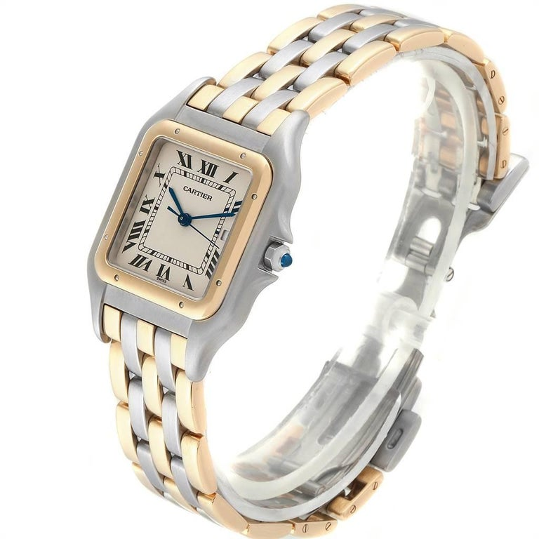 Women's or Men's Cartier Panthere Jumbo Steel 18 Karat Yellow Gold Three-Row Quartz Watch
