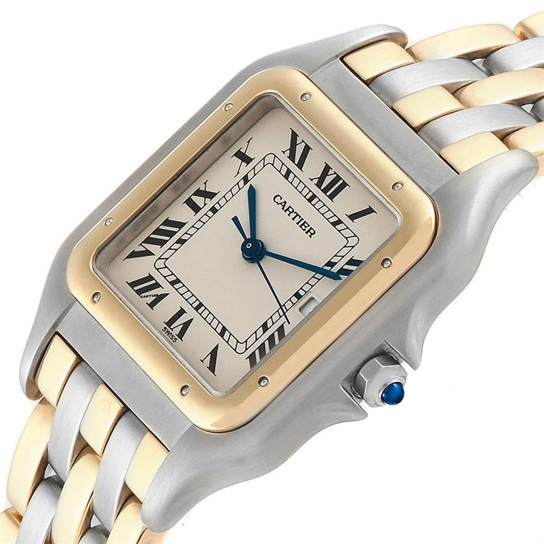 Cartier Panthere Jumbo Steel 18 Karat Yellow Gold Three-Row Quartz Watch 1