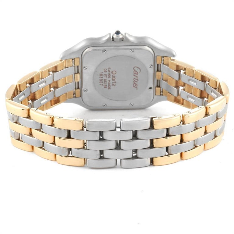 Cartier Panthere Jumbo Steel 18 Karat Yellow Gold Three-Row Quartz Watch 3