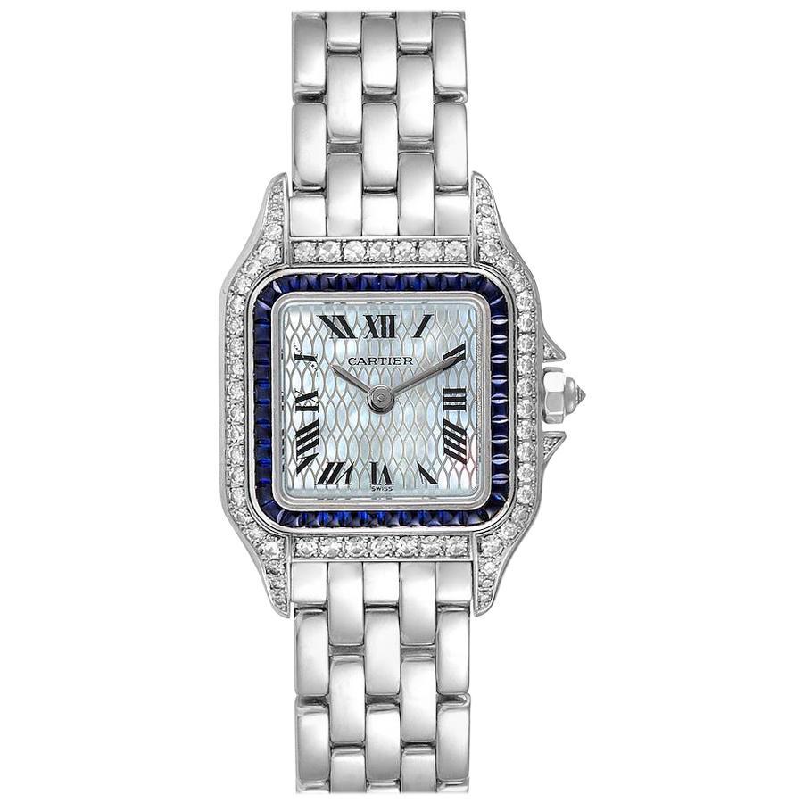 Cartier Panthere Ladies 18k White Gold Sapphire Diamond Ladies Watch 2362