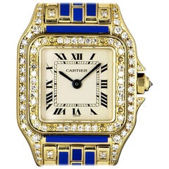 Cartier Panthere Ladies Gold Silver Dial Blue Enamel and Diamond Set Wristwatch
