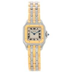Cartier Panthere Ladies Steel 18 Karat Yellow Gold 3-Row Watch W25029B6