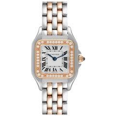 Cartier Panthere Ladies Steel Rose Gold Diamond Watch W3PN0006 Box Card