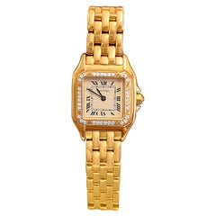 Cartier Panthere Ladies Wristwatch in 18k Gold with Cartier Diamond Bezel