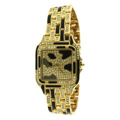 Cartier Panthere Ladies Yellow Gold Diamond Onyx Extra Large Watch