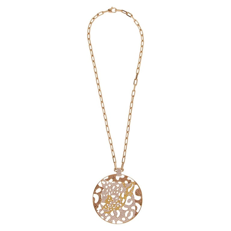 Cartier Panthere Openwork Limited Edition Gold Necklace For Sale