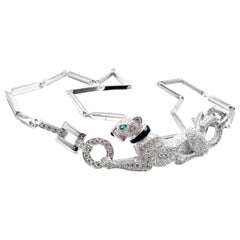 Cartier Panthere Panther Diamond Onyx Emerald White Gold Necklace