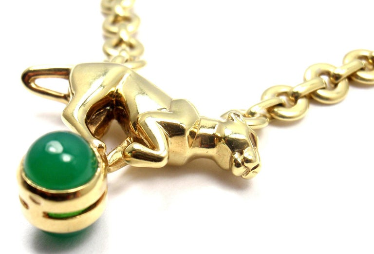 Cartier Panthere Panther Green Chalcedony Yellow Gold Necklace For Sale 6