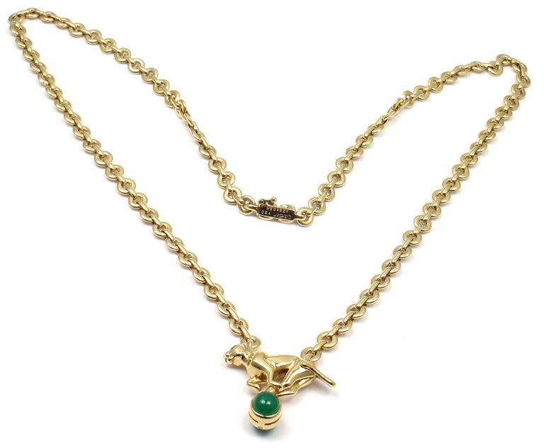 Cartier Panthere Panther Green Chalcedony Yellow Gold Necklace For Sale 7