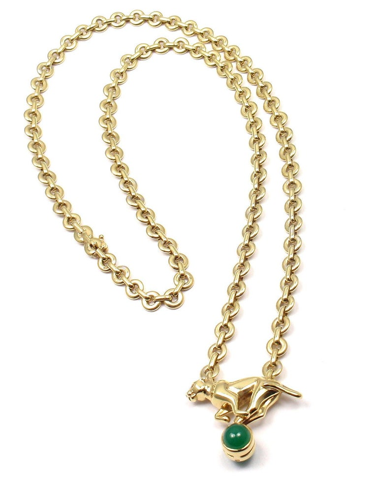 Cartier Panthere Panther Green Chalcedony Yellow Gold Necklace For Sale 8