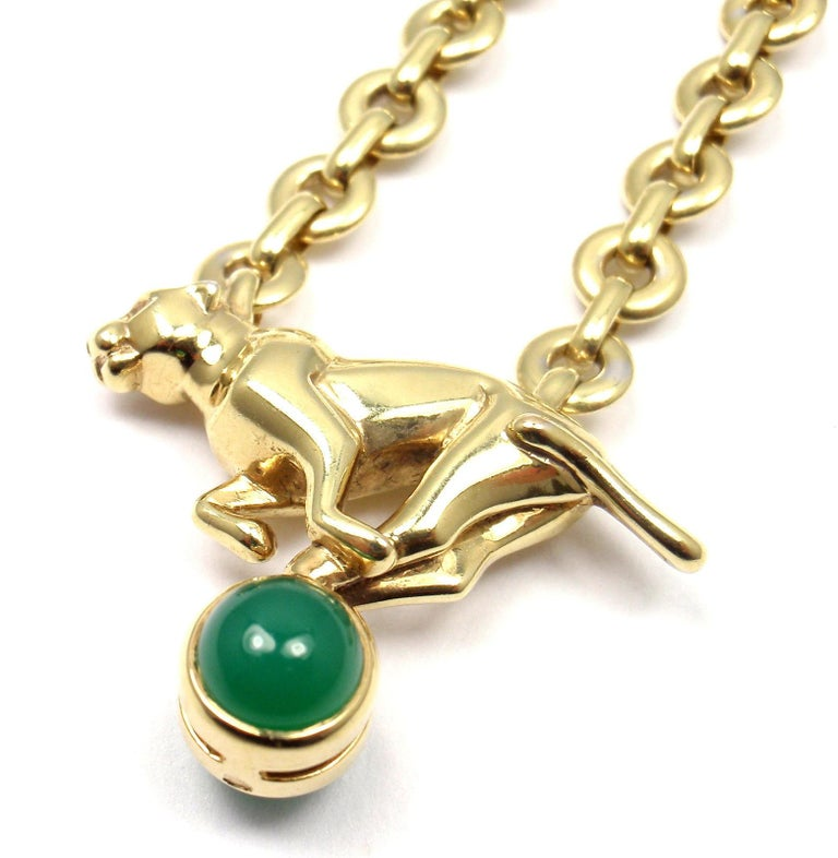 18k Yellow Gold Panther Green Chalcedony Pendant Necklace by Cartier.  With 2 round green chalcedony stones 6mm each. Details: Length: 20
