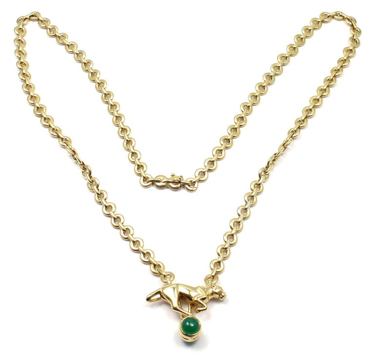 Women's or Men's Cartier Panthere Panther Green Chalcedony Yellow Gold Necklace For Sale