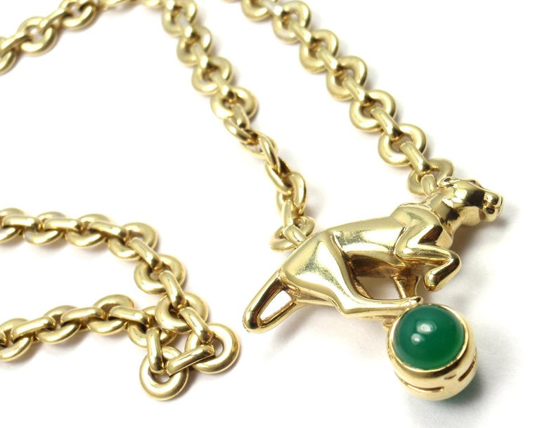 Cartier Panthere Panther Green Chalcedony Yellow Gold Necklace For Sale 1