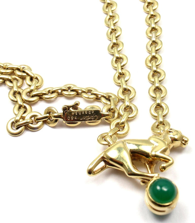 Cartier Panthere Panther Green Chalcedony Yellow Gold Necklace For Sale 2