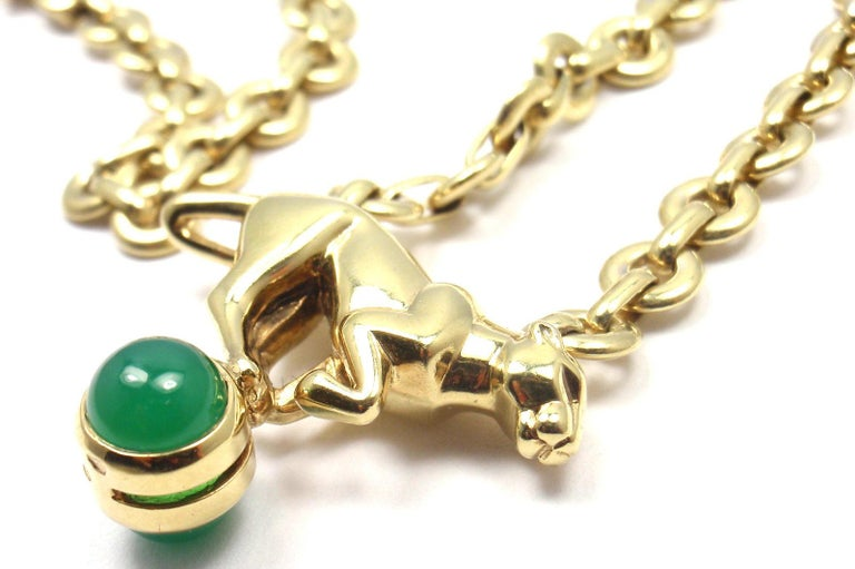 Cartier Panthere Panther Green Chalcedony Yellow Gold Necklace For Sale 3