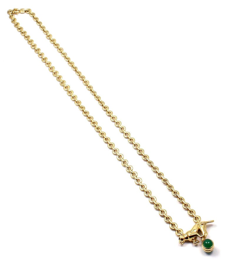 Cartier Panthere Panther Green Chalcedony Yellow Gold Necklace For Sale 4