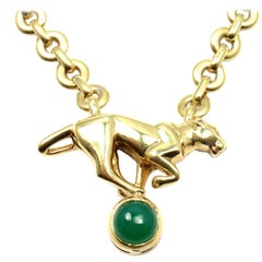 Cartier Panthere Panther Green Chalcedony Yellow Gold Necklace