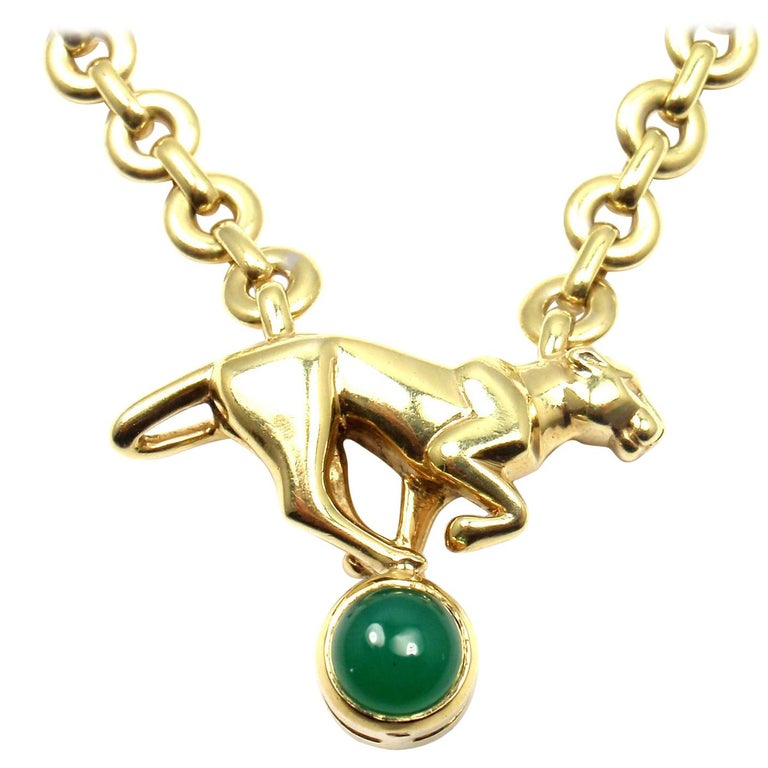 Cartier Panthere Panther Green Chalcedony Yellow Gold Necklace For Sale
