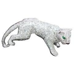 Cartier Panthere Pave Diamond Emerald Onyx 18 Karat White Gold Ring
