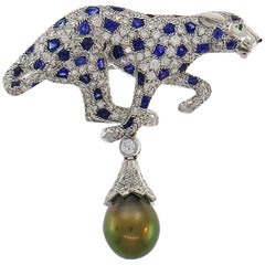 Cartier Panthere Pendant Brooch Pin Clip in Platinum Diamond Sapphire Pearl