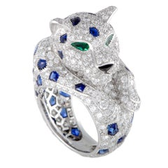 Cartier Panthere Platinum Full Diamond Pave, Sapphires, Emeralds, and Onyx Ring