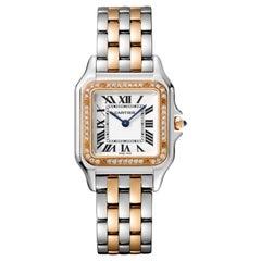 Cartier Panthère Quartz Medium Model Rose Gold, Steel and Diamond Watch W3PN0007