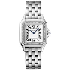 Cartier Panthère Quartz Movement Medium Model Diamond and Steel Watch W4PN0008